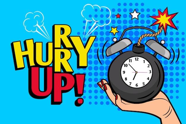 Sbrigati. poster di fretta vintage con orologio bomba per vendita promozionale e offerte speciali illustrazione vettoriale