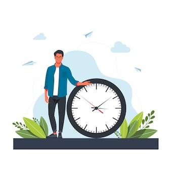 Uomo di fretta e orologio da parete. concetto di gestione del tempo, pianificazione efficace per il lavoro produttivo, compito stressante, scadenza, conto alla rovescia. moderna illustrazione vettoriale piatto colorato per poster, banner.