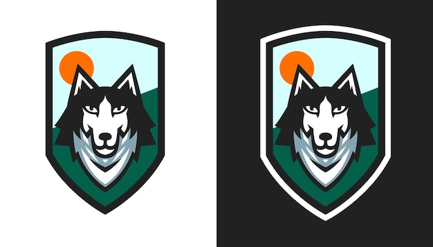 Illustrazione vettoriale di disegno dell'emblema del cane husky