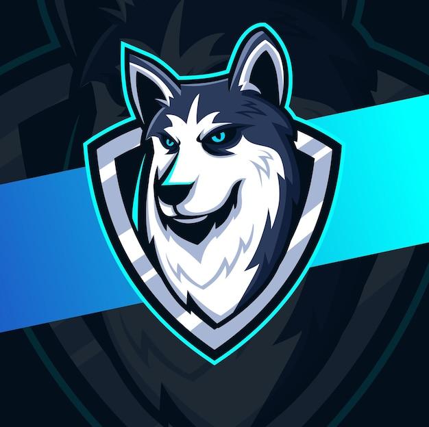 Design del logo esport della mascotte del cane husky per lo sport e il logo degli animali Vettore Premium