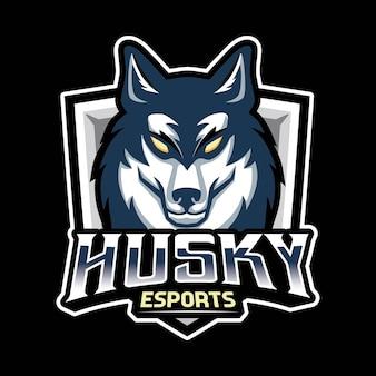 Logo di gioco della mascotte del cane husky