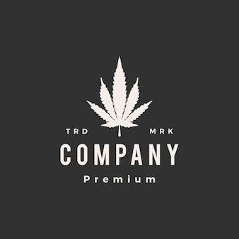 Illustrazione dell'icona del logo vintage hipster di cannabis ibrida