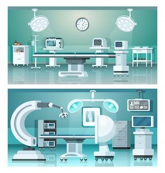 Sala operatoria dell'ospedale di medicina isometrica operativa ibrida su medicina.