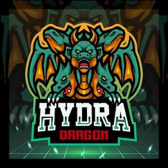 Disegno del logo esport della mascotte del drago dell'idra