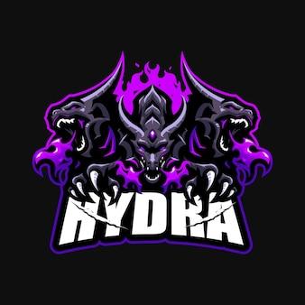 Modello di vettore di logo del fumetto della mascotte di esportazione dell'hydra