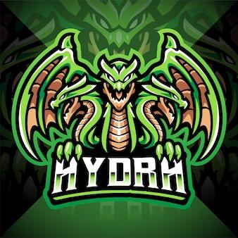 Disegno del logo della mascotte di hydra esport