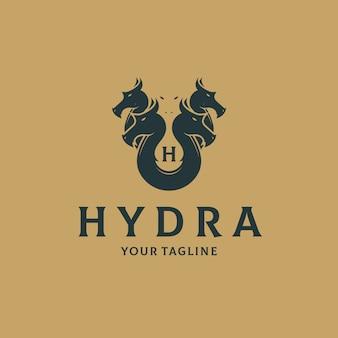 Modello di logo vintage teste hydra