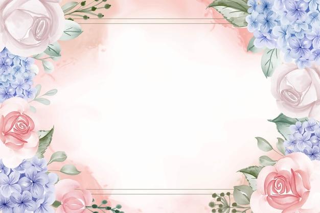Cornice floreale di ortensie sfondo blu e rosa