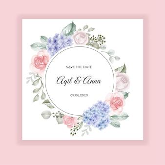 Invito a nozze ortensie blu e rosa