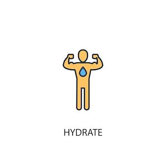 Icona di linea colorata concetto 2 idrato. illustrazione semplice dell'elemento giallo e blu. disegno del simbolo del contorno del concetto di idrato