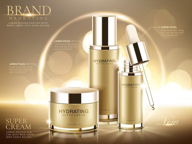 Annunci di prodotti cosmetici idratanti, contenitori in oro champagne su sfondo bokeh scintillante nell'illustrazione