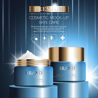 Crema viso idratante per la vendita annuale o la vendita di festival bottiglia maschera crema blu e oro