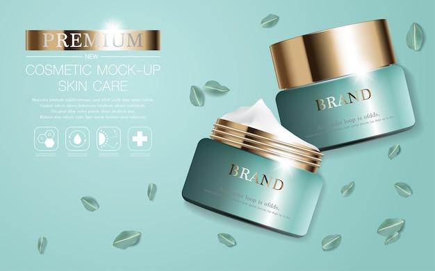 Crema viso idratante per la vendita annuale o la vendita del festival bottiglia maschera crema crema verde e oro
