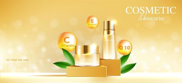 Crema viso idratante per la vendita annuale o la vendita di festival bottiglia di maschera crema arancione e oro isolata