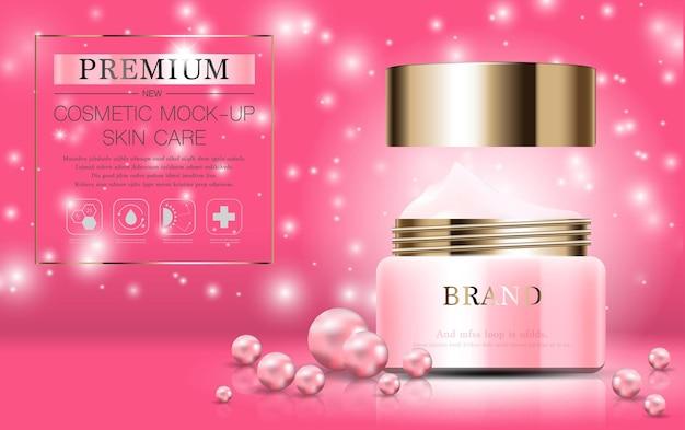 Crema idratante per il viso per la vendita annuale o la vendita del festival bottiglia maschera crema rosa e oro