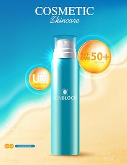 Crema solare idratante per il viso per la vendita annuale o la vendita di festival flacone maschera crema arancione isolato