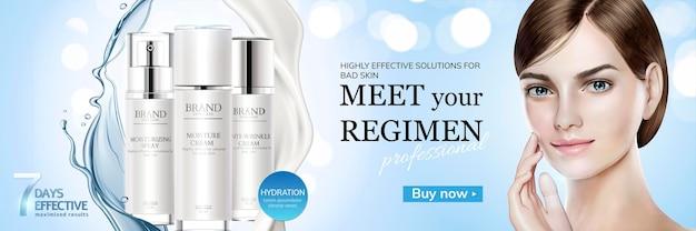 Prodotti idratanti per la cura della pelle con schizzi di crema e consistenza liquida su sfondo glitterato in illustrazione 3d, bellissimo modello di capelli corti