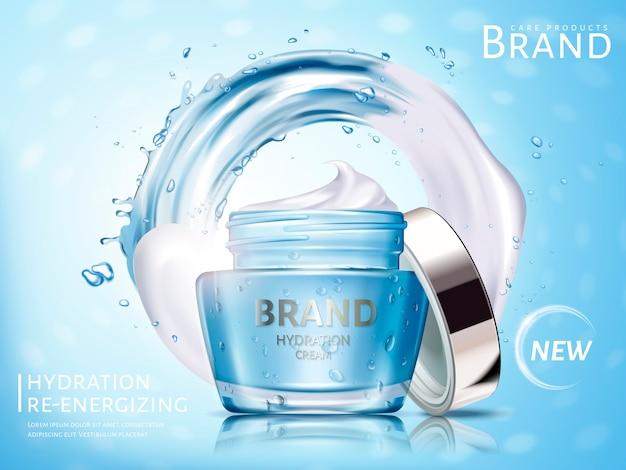 Annuncio crema cosmetica idratazione, con flusso d'acqua ed elementi crema bianca