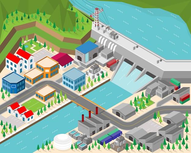 Centrale idroelettrica, diga con idro turbina in grafica isometrica