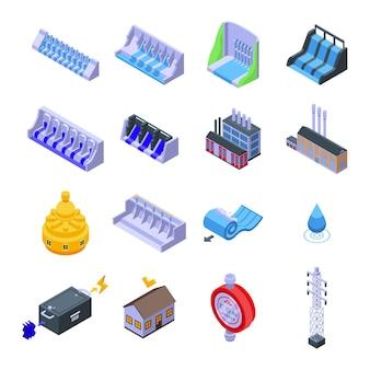 Set idroelettrico. insieme isometrico di energia idroelettrica per il web design isolato su sfondo bianco