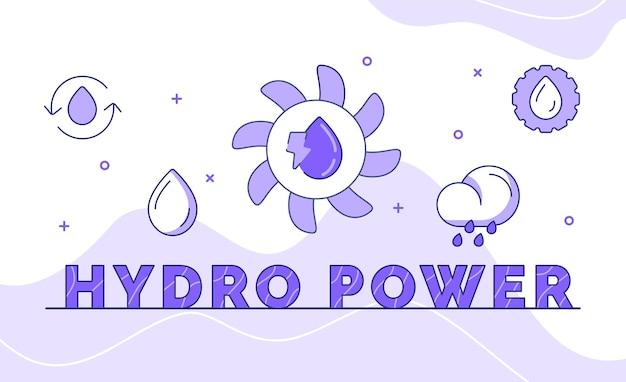 Arte di parola di calligrafia di tipografia di energia idroelettrica con stile di contorno