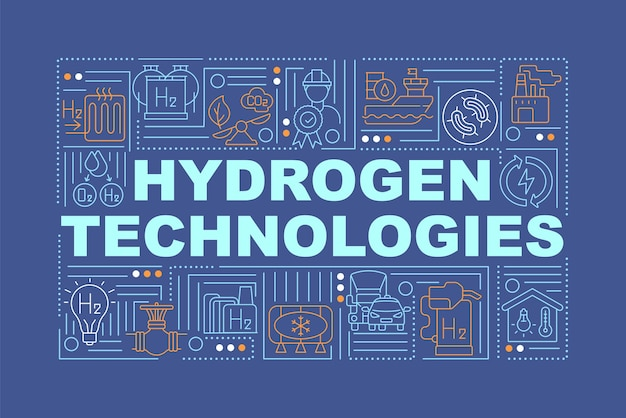 Insegna di concetti di parola di tecnologie dell'idrogeno consumo di energia verde. infografica con icone lineari su sfondo blu marino. tipografia creativa isolata. illustrazione a colori del contorno vettoriale con testo