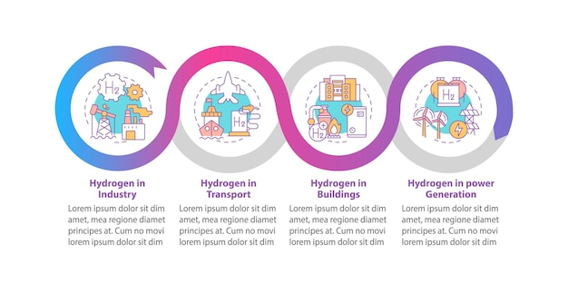 Modello di infografica vettoriale di utilizzo dell'idrogeno. h2 negli elementi di design del profilo di presentazione del settore. visualizzazione dei dati con 4 passaggi. grafico delle informazioni sulla sequenza temporale del processo. layout del flusso di lavoro con icone di linea