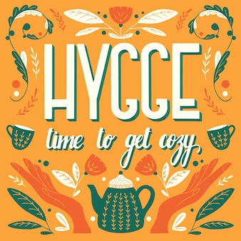 Concetto di hygge. illustrazione e scritte a mano colorate