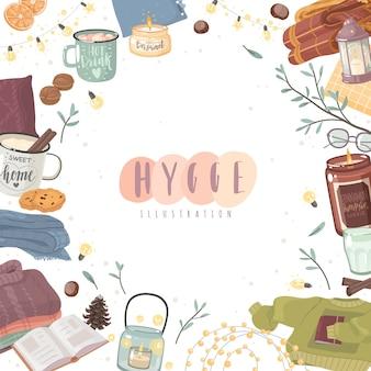Illustrazione di cornice accogliente hygge. tema del comfort in stile cartone animato