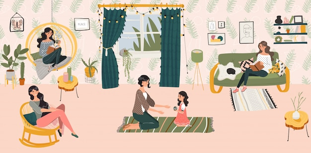 Concetto, donne e ragazza domestici di hygge che siiting nella stanza scandinava di stile che passano tempo all'illustrazione domestica accogliente.