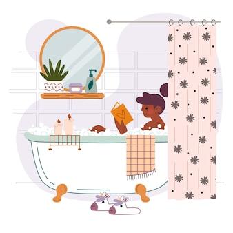 Illustrazione di design piatto scene di stile di vita hygge