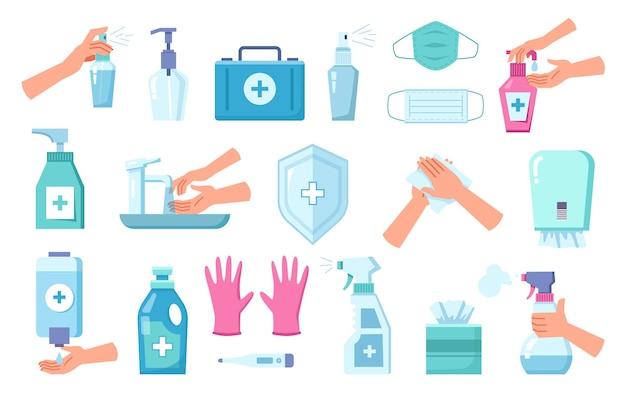 Prodotti per l'igiene e la protezione personale impostati isolati. set di pulizia e disinfezione