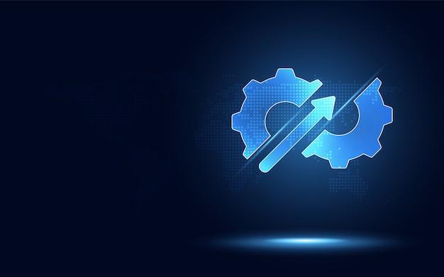 Trasmissione ad ingranaggi blu futuristica iperautomazione con freccia su.