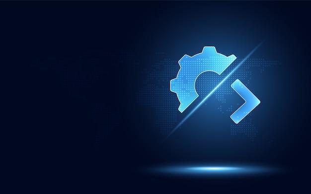 Iperautomazione futuristica trasmissione ad ingranaggi blu con segno maggiore di.