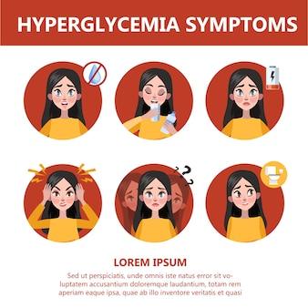 Sintomi e segni di iperglicemia. visione offuscata, vertigini Vettore Premium