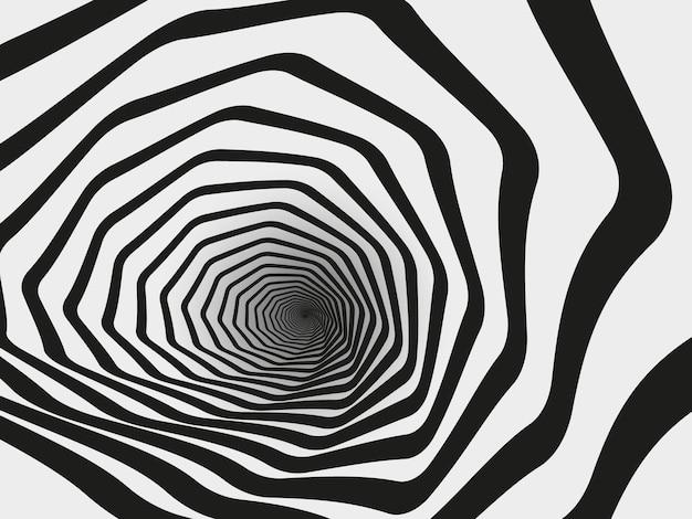 Tunnel di turbinio ipnotico. imbuto geometrico a strisce a spirale, illustrazione del fondo di vettore di illusione ottica ipnotica. tunnel ipnotico astratto. tunnel ipnotico di sfondo, imbuto a strisce concentriche