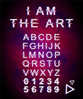 Io sono il modello di carattere glitch artistico. alfabeto in stile futuristico retrò impostato su sfondo olografico viola. lettere maiuscole, numeri e simboli. design del carattere creativo con effetto di distorsione