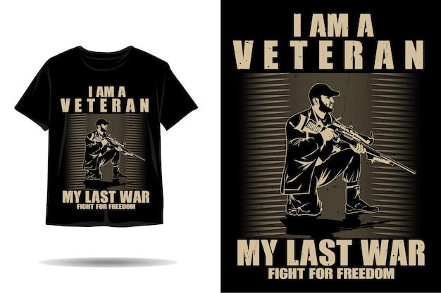Sono un design di tshirt silhouette veterano