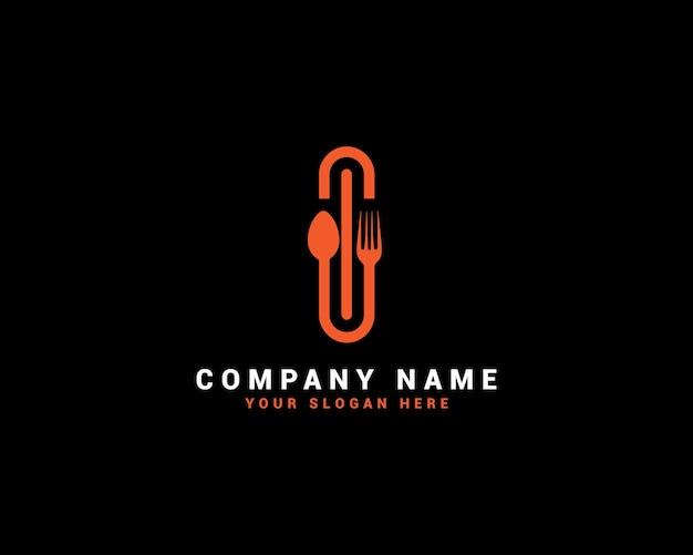 I logo della lettera di cibo, logo della lettera di cucchiaio, set di logo della lettera di cibo, alfabeto del cibo