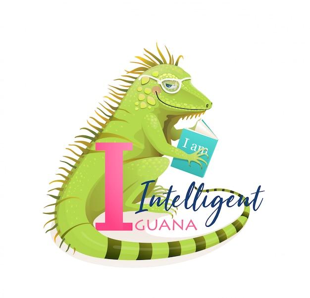 Io sono per intelligent iguana, il libro illustrato di animal abc. lucertola intelligente sveglia dell'iguana che legge un libro, fumetto del carattere dei bambini. libro illustrato di alfabeto di animali da zoo carino, disegno in stile acquerello.