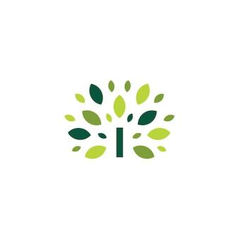 I lettera albero foglia natura segno logo verde icona vettore illustrazione