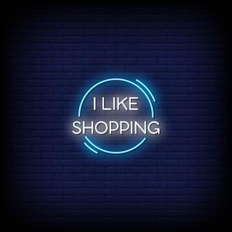 Mi piace lo shopping di testo in stile insegne al neon