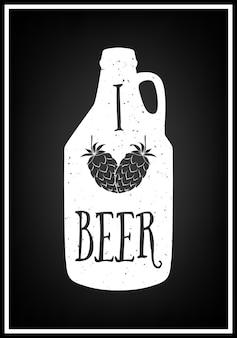 Amo la birra - citazione sfondo tipografico Vettore Premium