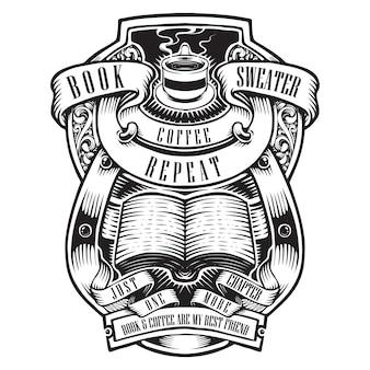 Amo l'illustrazione del materiale illustrativo del manifesto del libro di lettura e del caffè