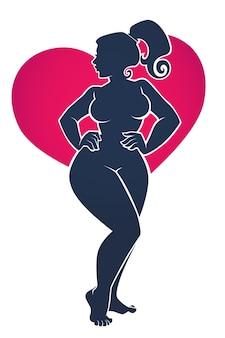 Amo il mio corpo, illustrazione di corpo positivo con silhouette di bella donna su sfondo luminoso a forma di cuore