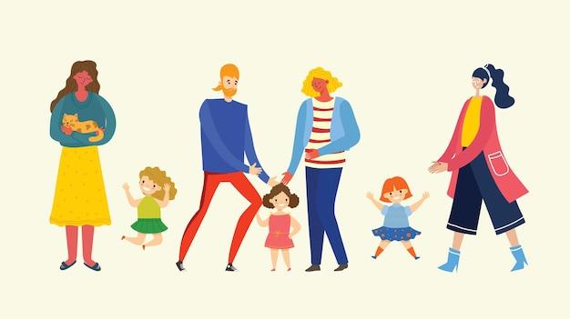 Amo la mia famiglia. illustrazione carina con madre, padre, figlia. genitori e figli felici