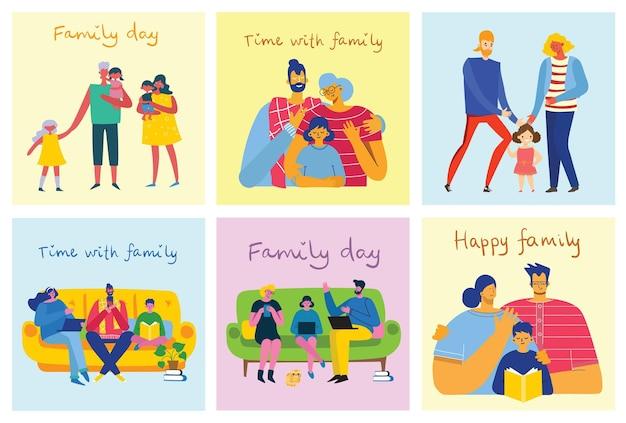 Amo la mia famiglia. illustrazione vettoriale carino con madre, padre, figlia. genitori e figli felici