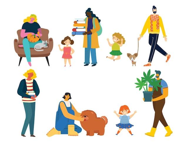 Amo la mia famiglia. illustrazione vettoriale carina con madre, padre, figlia