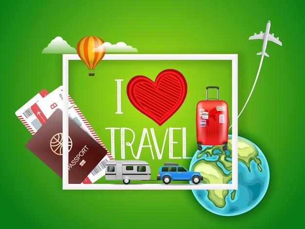 Amo il concetto di viaggio con diversi accessori.