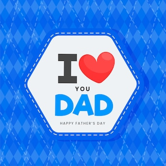 Etichetta messaggio ti amo papà su rombo blu